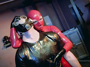 Kinky and costumed couple find worthwhile BDSM games until they cum together