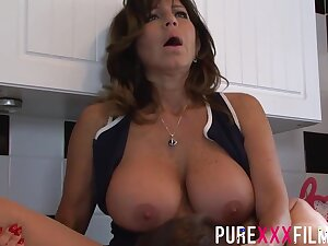 Busty housewife, Tara Holiday was moaning while getting her trimmed pussy disciplined in the kitchenette