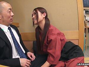 Flirty Japanese waitress Sakura Aoi arranges a foursome at work