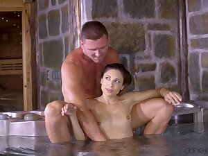 Making out hard by the jacuzzi rubble with a drenched facial for Talia Mint