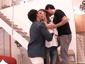 Handsome Japanese girlfriend MIYABI fucked by two lucky dudes
