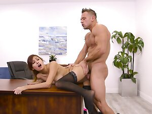 Horny secretary Jade Jantzen drops on her knees to give a BJ to her boss