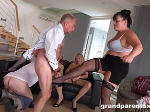 Young and old amateurs come pile up for a group fuck fest